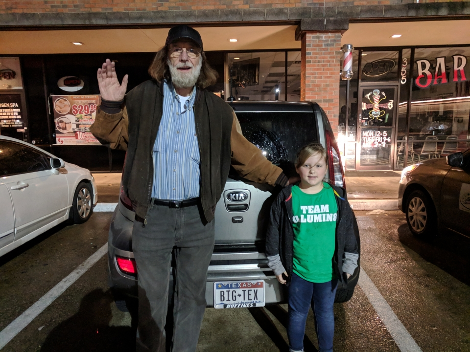 Voice of Big Tex 2002-2012 Bill Bragg and my daughter.