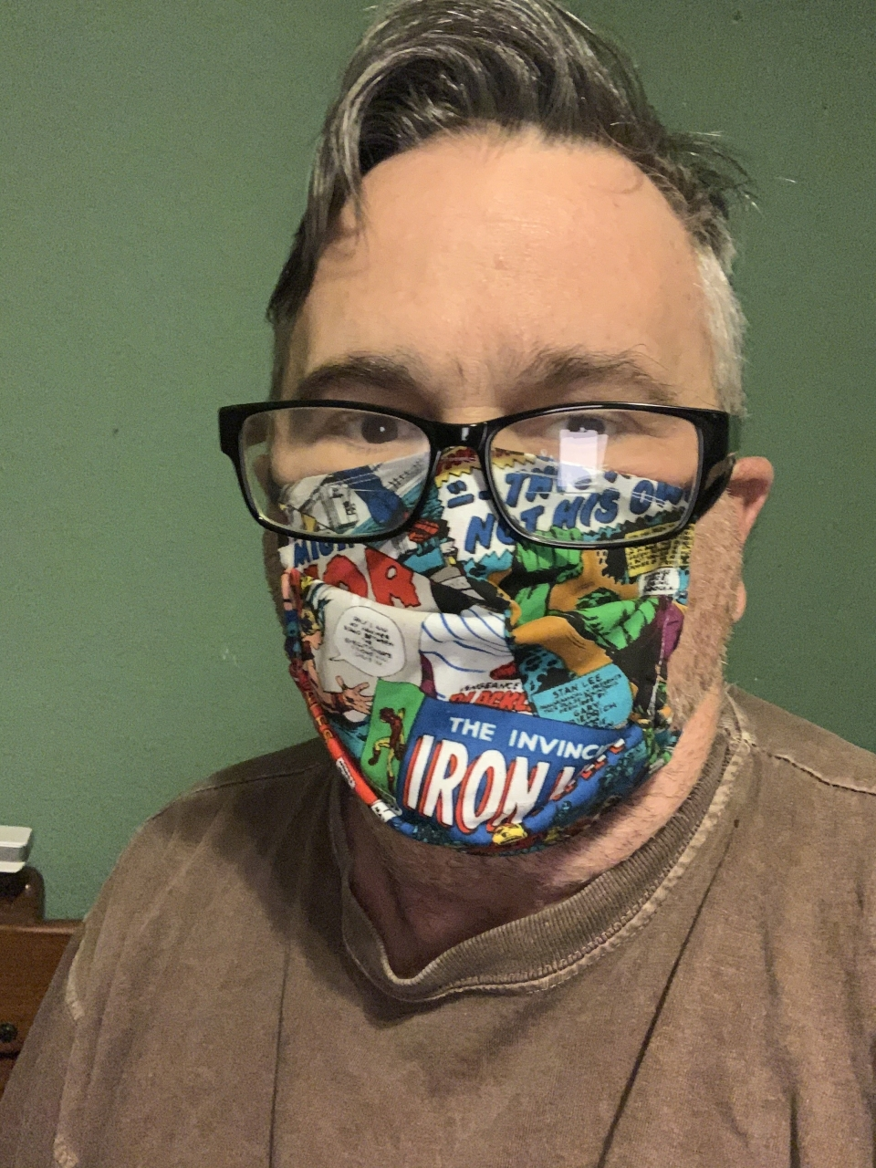 Since it looks like wearing a mask is going to be mandatory in the next few days, mom decided to start making some - here's my Marvel fanboy mask - wait till you see my Batman one -