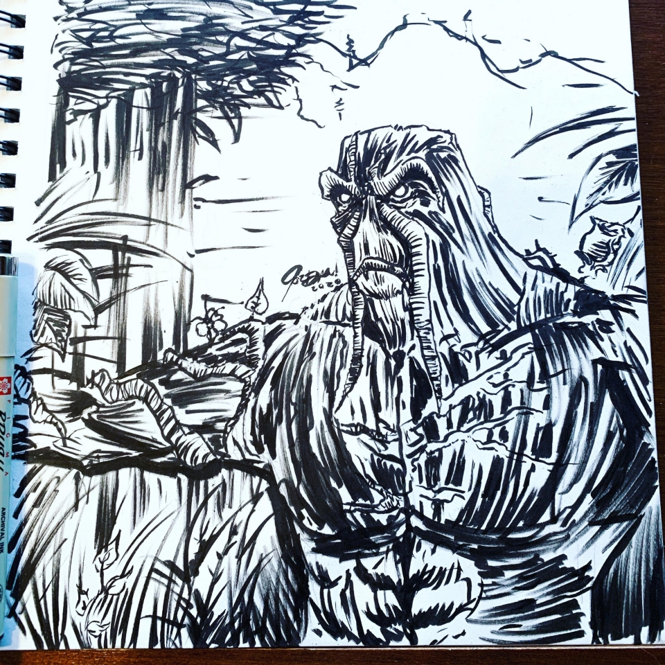 Took a short break from work and moved from my work desk to my drafting table to do a quick Swamp Thing ink sketch. This is really fast and rough but was just to get an idea and feel for drawing the character before I return to it later and do a proper piece. I've never drawn him before so this will be fun!
